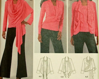 Knit Top & Cardi-Wrap - 2010's - Simplicity Pattern 2603 Uncut  Sizes XXS-XS-S-M  Bust 29.5-31.5-32.5-34-36-38""