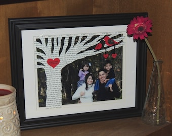Personalized Family Tree, Anniversary Gift, Wife, Husband, Parents, Wedding Gift with Song Lyrics on Tree with YOUR PICTURE - FRAMED