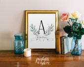 Monogram Art print nursery name wedding gift printable laurel letter wall art decor print, digital typography, wall decoration
