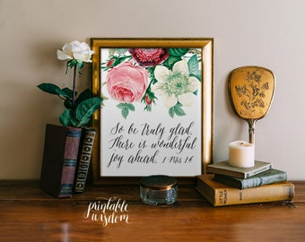 Bible verse printable Wedding Scripture art floral Christian wall decor marriage inspirational 1 Peter 1:6 INSTANT DOWNLOAD Printable Wisdom