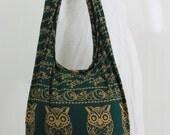 USA SHIPPING**Forest Green Owl Vintage Unisex Hippie Hobo Boho Sling Cross body Shoulder Messenger Bag E-OWLL10