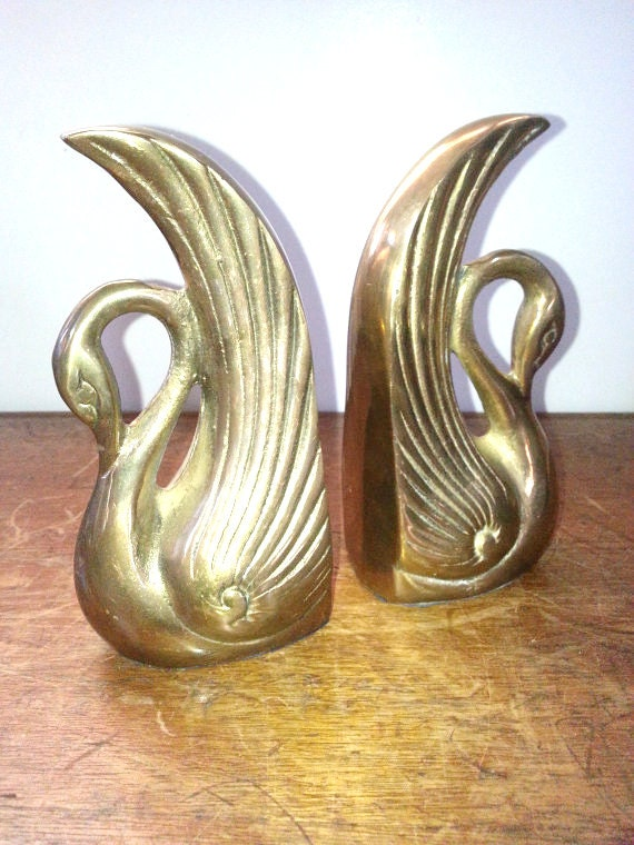 bookends vintage brass swan bookends mid century modern