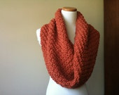 Chunky Handknit Cowl in Pumpkin - Fall Fashion - READY TO SHIP