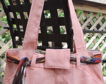 Large Lined Peach/ Light Orange Purse / Handbag / Tote Bag, Handmade from Upcycled/ Recycled Peach Dress Pants, Inside is Lined w/ Pockets