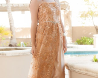 Gold Long Sequin Dress/Gold Evening Dress/Gold Formal Dress/Gold Party Dress/Gold Prom Dress/Gold Bridesmaid/Pretty Shiny Golden Tulle