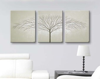 Painting Wall Art Canvas Tree Paintings Wall Decor Home Decor Wall Hangings Modern Art Trees 36x16 Original Painting