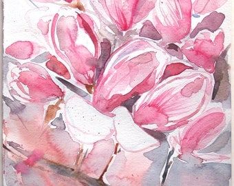 Magnolia watercolor painting original. Art painting original with floral motives. Blossomed magnolia painting in pale pink. Spring garden