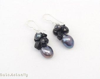 Black freshwater pearl earring with crystal and stone on silk thread, black pearl earring, black earings