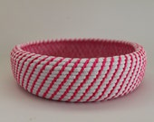 Upcycled Natural & Neon Rope Basket: Pink / Coiled / Extra Large