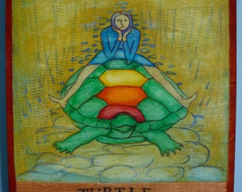 """T is for TURTLE, original mixed media painting, part of my """"VISIONS: A-Z"""" project"""