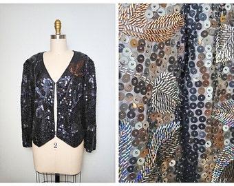 Vintage Sequin Evening Jacket // Black & Brown Beaded Sequin Evening Jacket