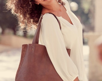 Women Leather Bag - Leather Tote - Leather purse - Shoulder Bag in Chocolate Brown with Magnetic closure - Miri bag