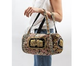 Vintage Elephants Embroidered Duffle Bag Gypsy Ethnic Asian Indian Travel Purse Handbag Metal Beading Multicolor Black Velvet Strap Rounded