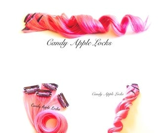 Strawberry Extensions, Pastel Pink Clip in Human Hair Extensions, Dip Dye, Ombre Rainbow Hair Dye