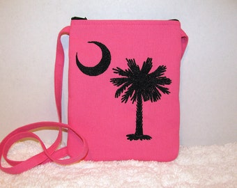 Hot Pink South Carolina Small Purse Long Strap, Embroidered Palmetto Tree, Crescent Moon - Womens Shoulder Bag, Pink and Black