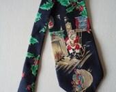 Vintage Wembley Silk Tie, Christmas Santa Necktie, 1990s Designer Holiday Holly Tie, Business Men