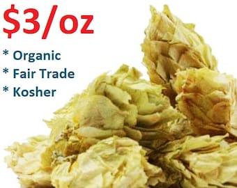 HOPS FLOWERS - 1oz Dried Herb - Organic, Fair Trade, Kosher, Non-GMO, Humulus lupulus