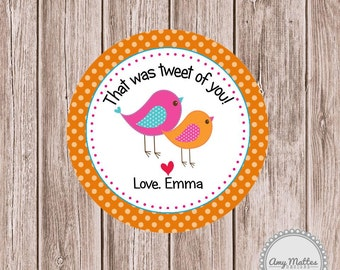 Tweet Birds Favor Tags or Stickers Printed for You