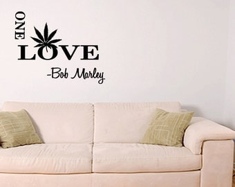 ONE LOVE Bob Marley Large Wall Decal Quote Sticker Vinyl Art (B96)