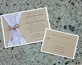 Rustic Kraft and Lace Wedding Invitation, Burlap and Lace wedding, Shabby Chic, Barn,  Woodland Wedding, Rustic Elegance, Invite Sample
