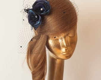 BIRDCAGE VEIL. Navy Blue Veil .Romantic wedding Headpiece with beautifull,delicate Flowers.BRIDAL Fascinator