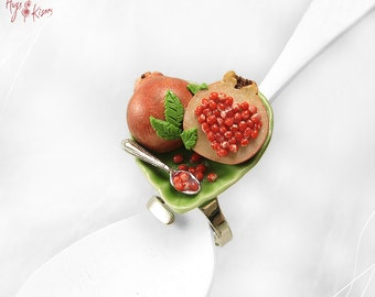 Pomegranate Ring, Good Luck Ring, Mini Food Jewelry, Polymer Clay Ring, Scented Jewelry, Foodie Gift, Valentine gift,Kawaii Jewelry
