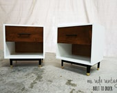 BUILT TO ORDER // Custom pair of nightstands with your choice of  lacquer finish and stain