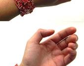 Boho cuff bracelet, bohemian jewelry, boho beaded bracelet, seed bead bracelet, freeform beadwork, beadwoven bracelet, bohemian cuff