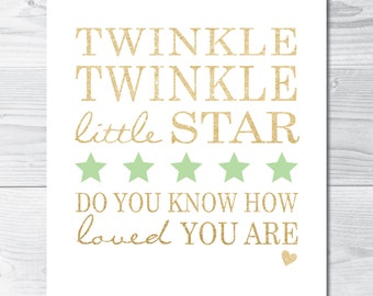 Mint & Gold Twinkle Twinkle Little Star - Printable Digital File (YOU print)