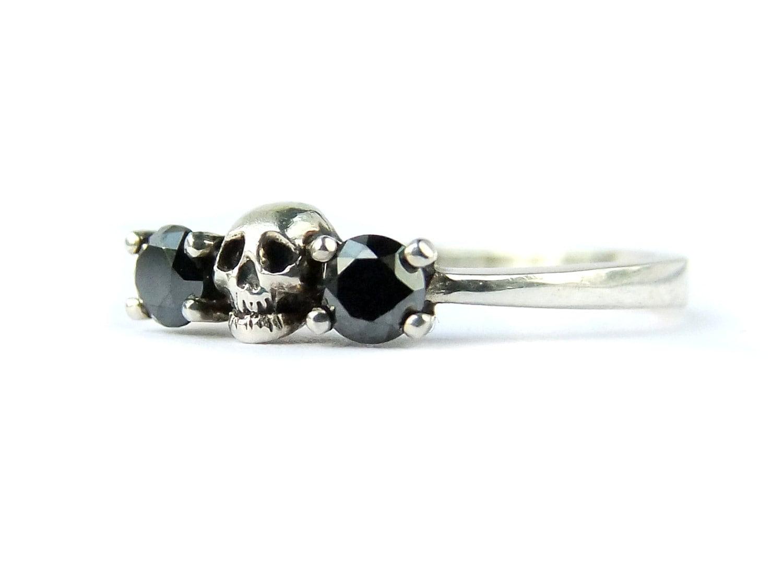 Black Diamond Skull Engagement Ring Sterling Skull Wedding