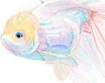 WATERCOLOR FISH JAPANESE art print - Pink goldfish painting, ghost oranda, koi art pastel watercolor pink fish wall art, sea nursery