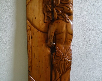 Beautiful Cherry relief wood carving - Hand carved Art Deco and Mucha style artwork - Original Wood carving - Wall decor - Wall hanging art