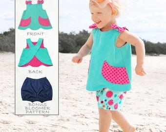 Baby Sewing Pattern PDF, Baby Bloomers Pattern pdf, Baby Pattern, Toddler Pattern, Baby Dress Pattern, Baby Top Pattern, SCANLAN