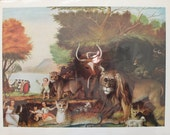 on sale: The Peaceable Kingdom By Edward Hicks (1780-1849) - a 1950 reproduction full color art print.