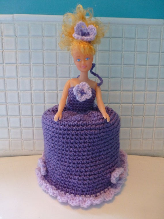 Handmade crochet retro 70s doll toilet roll cover in purple
