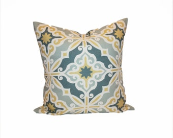Medallion Pillow Cover in Yellow and Blue  - You Choose the Size - Accent Pillow Cover