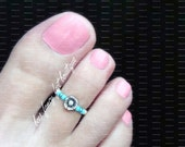 Toe Ring - Silver Flower - Metallic Blue - Silver Stretch Bead Toe Ring