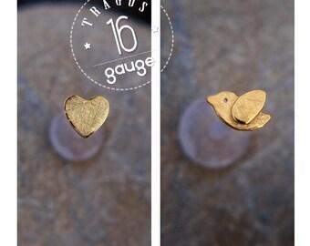 Tiny bird TRAGUS SET 16 GAUGE 24k gold plated Labret /16 gauge/ BioFlex/tragus heart/ tragus earring/cartilage earring