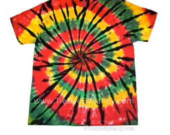 Tie Dye Shirt Rasta Spiral-Red, Green, Yellow, and Black