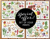 Garden prints. Gardening. Garden art. discount. Food art. Gift for gardener. Seasons. Kitchen decor. Fruit. Vegetables. Illustration.