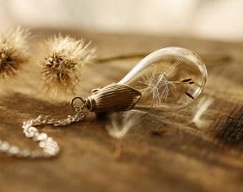 Sterling silver dandelion necklace , make a wish , Irish keepsake , bridal jewellery , follow your dream , terrarium pendant #D14