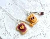 Peanut Butter Jelly Heart Necklace Set, Best Friend's BFF Necklace, Cute :D
