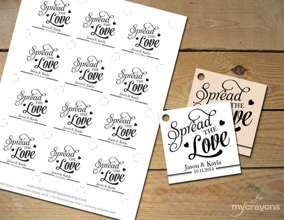 Spread The Love Printable Tags Instant By MyCrayonsPapeterie
