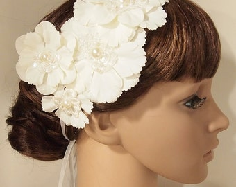 Lace flower headband, bridal headband, wedding accessories, wedding headband, Bridal headpiece, Race Fascinator, flower girl, W