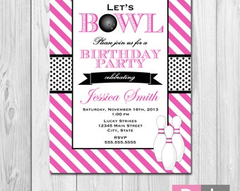 Bowling Party Invitation - Stripes - Pink White and Black - DIY - Printable
