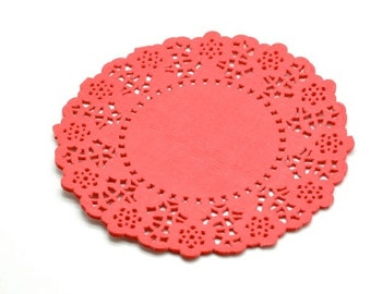 "4.5"" Sharp Red Round Paper Doilies x 20"