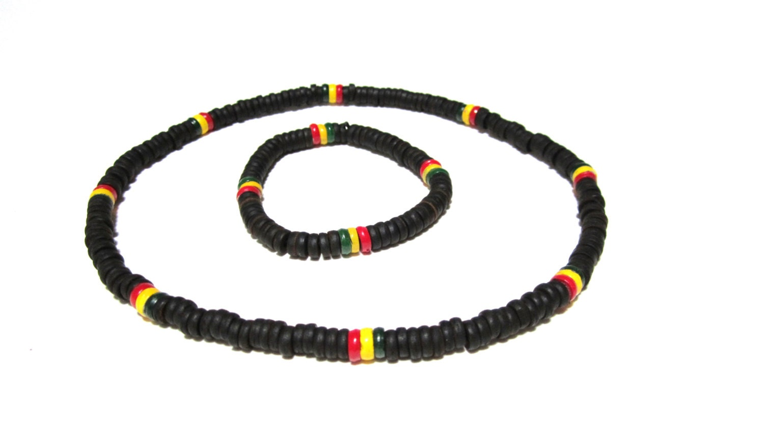 rasta necklace and bracelet set jamaican style wooden