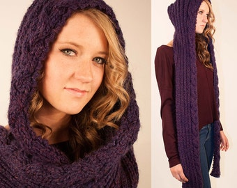 Hooded scarf november 2013 crochet cabled hooded pattern scarf pattern with braid rapunzel hooded scarf knitting knit oversized dt1010fo
