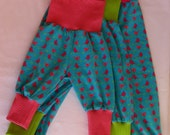 ORGANIC cotton baby/ toddler/ child harem slouch pants Turquoise Birds made to order, sizes 0 - 6 years