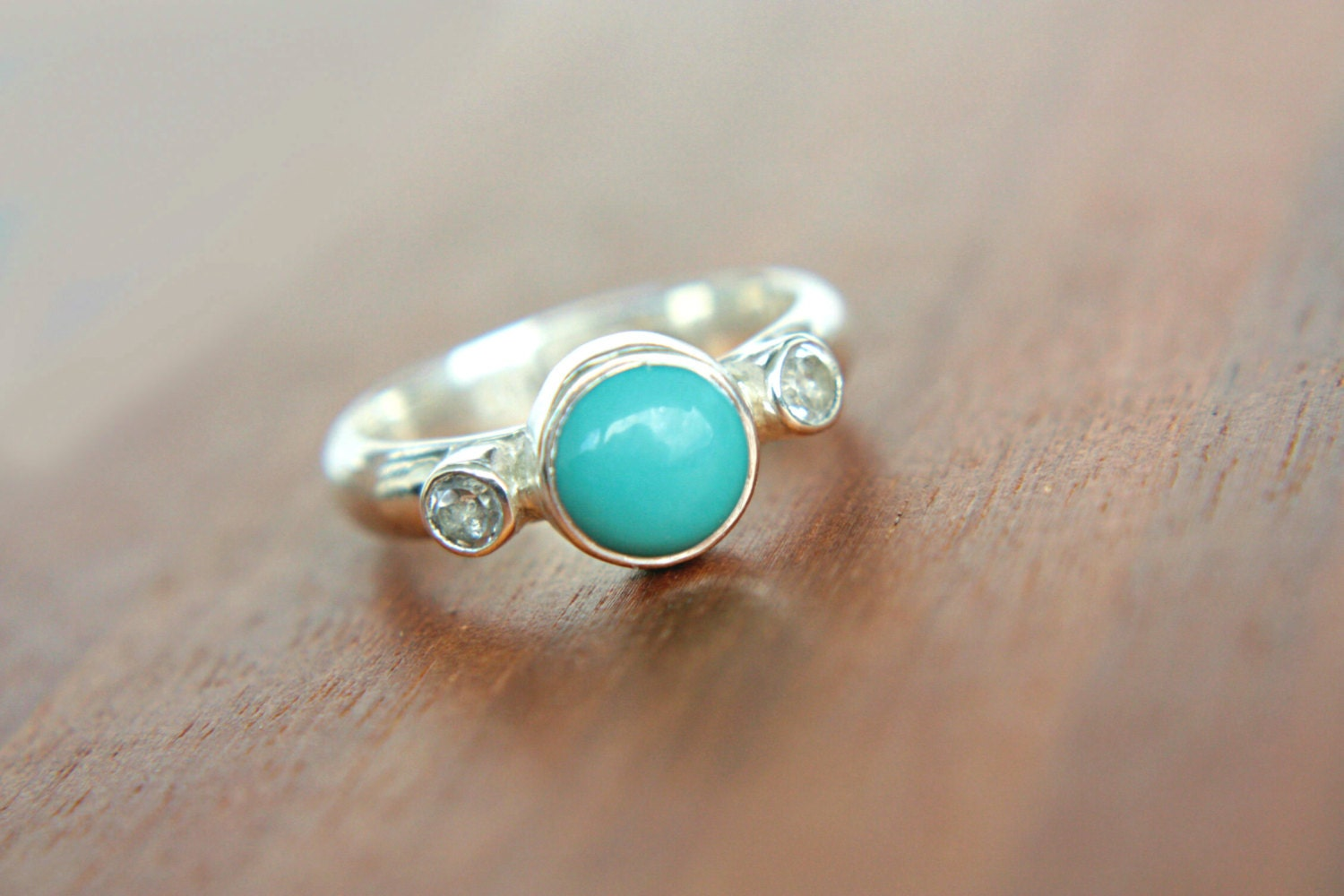 turquoise engagement ring white topaz ring sterling silver